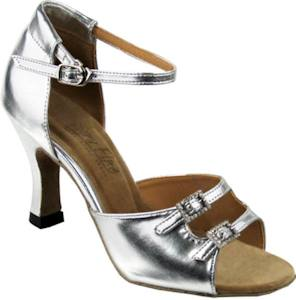 argentine tango shoe-VF 1620 (adjustable) - Ladies Open Toe-Silver Leather